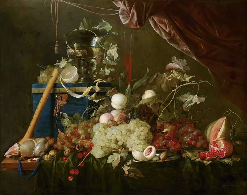 Jan Davidsz de Heem - Sumptuous Fruit Still Life with Jewellery Box. Mauritshuis