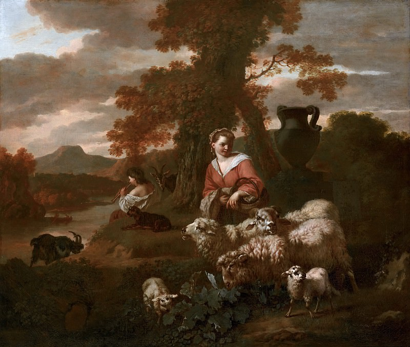 Simon van der Does - Shepherdess and Shepherd with Sheep and Goats. Mauritshuis