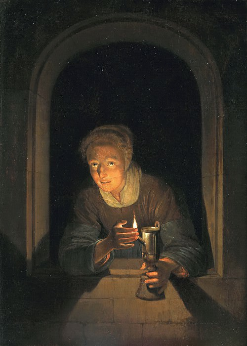 Gerrit Dou - Young Woman Holding a Lamp. Mauritshuis
