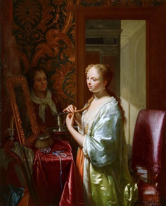 Philip van Dijk - Lady Attending at her Toilet. Mauritshuis