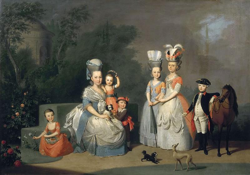 Anton Wilhelm Tischbein - Portrait of Carolina Wilhelmina of Orange (1743-1787) and her Children. Mauritshuis