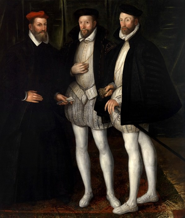 Anonymous (France) - Portrait of the Brothers Gaspard (1519-1572), Odet (1517-1571) and François (1512-1569) de Châtillon-Coligny. Mauritshuis