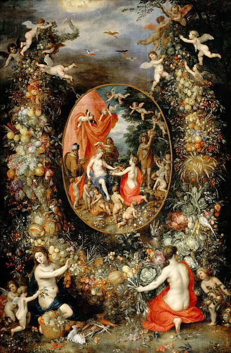Garland of Fruit surrounding a Depiction of Cybele Receiving Gifts from Personifications of the Four Seasons. Jan Brueghel The Elder