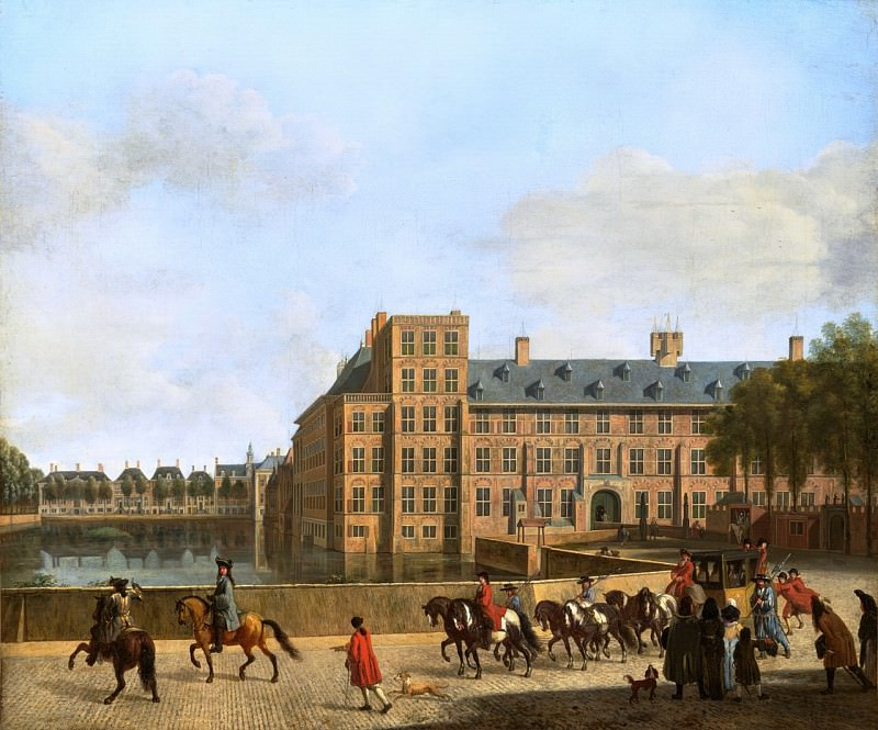 Gerrit Adriaensz Berckheyde - A Hunting Party near the Hofvijver in The Hague, Seen from the Buitenhof. Mauritshuis