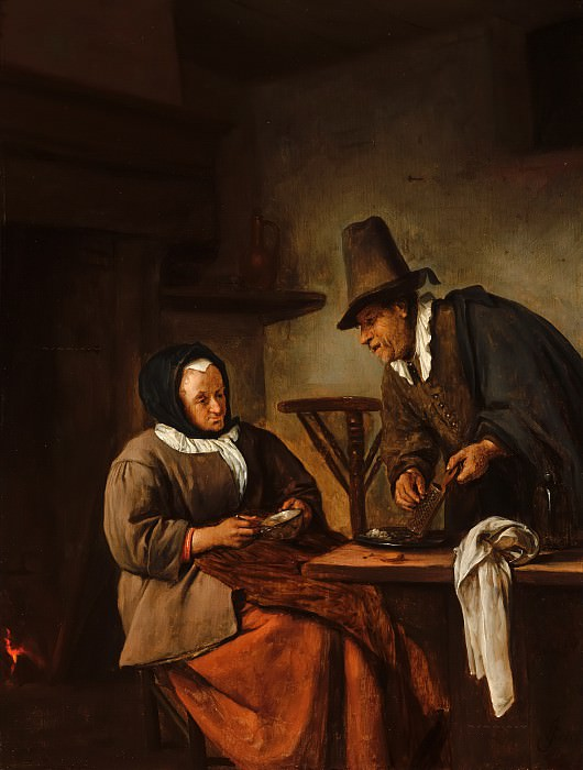 Jan Steen - An Old Couple Making Caudle. Mauritshuis