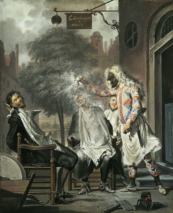 Cornelis Troost - Harlequin, Magician and Barber: The Rivals Exposed. Mauritshuis