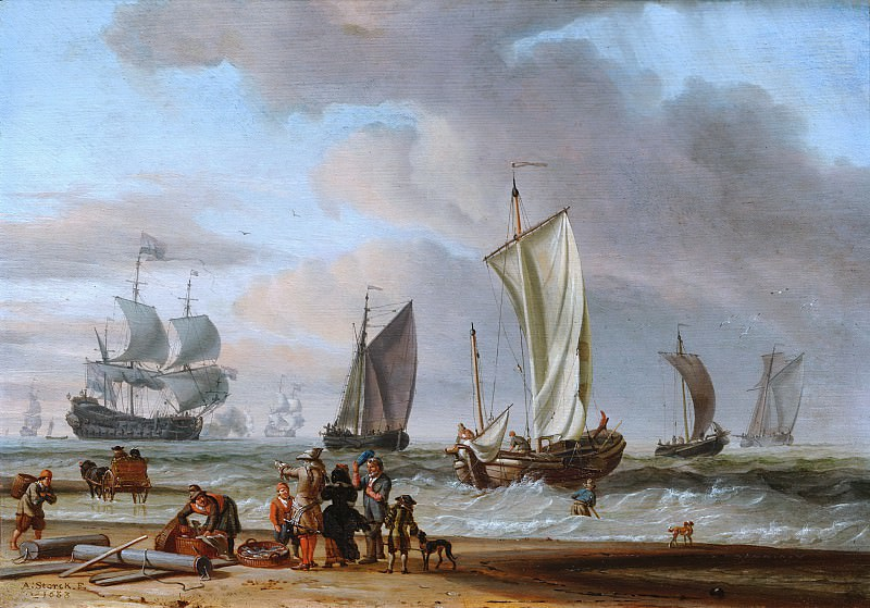 Abraham Storck - Beach View. Mauritshuis