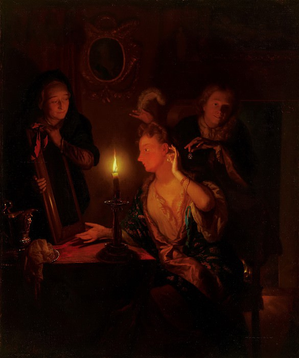 Godfried Schalcken - Lady at a Mirror by Candlelight. Mauritshuis