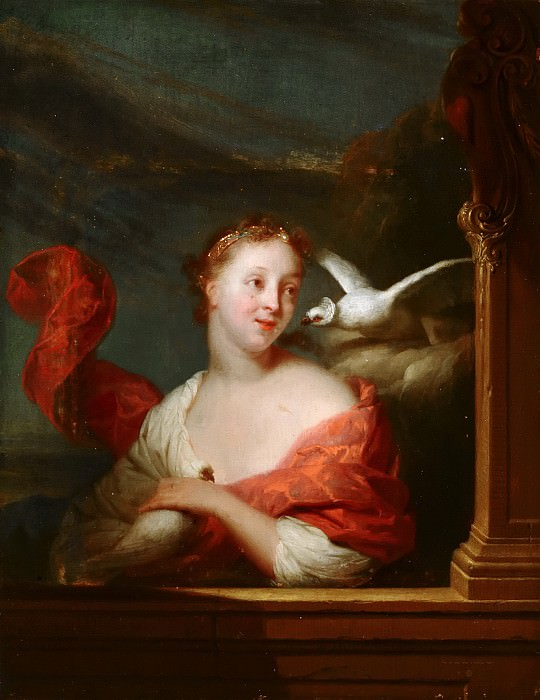 Godfried Schalcken - Young Woman with Pigeons. Mauritshuis
