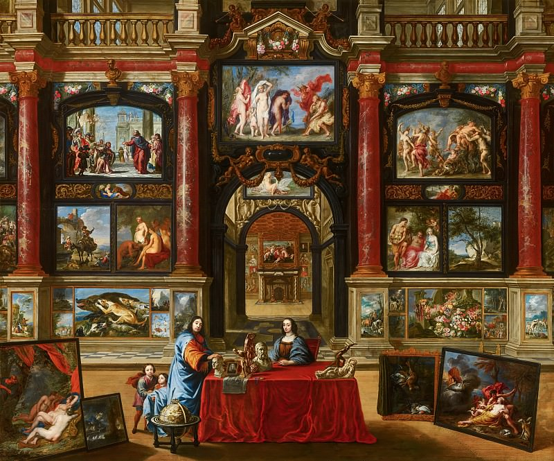 Gonzales Coques (with many other artists) - Interior with Figures in a Picture Gallery. Mauritshuis