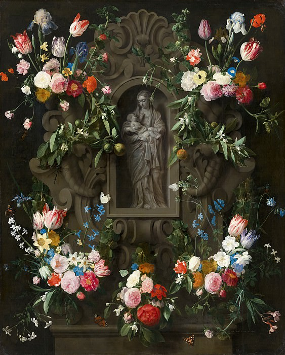 Daniel Seghers, Thomas Willeboirts Bosschaert - Garland of Flowers surrounding a Sculpture of the Virgin Mary. Mauritshuis