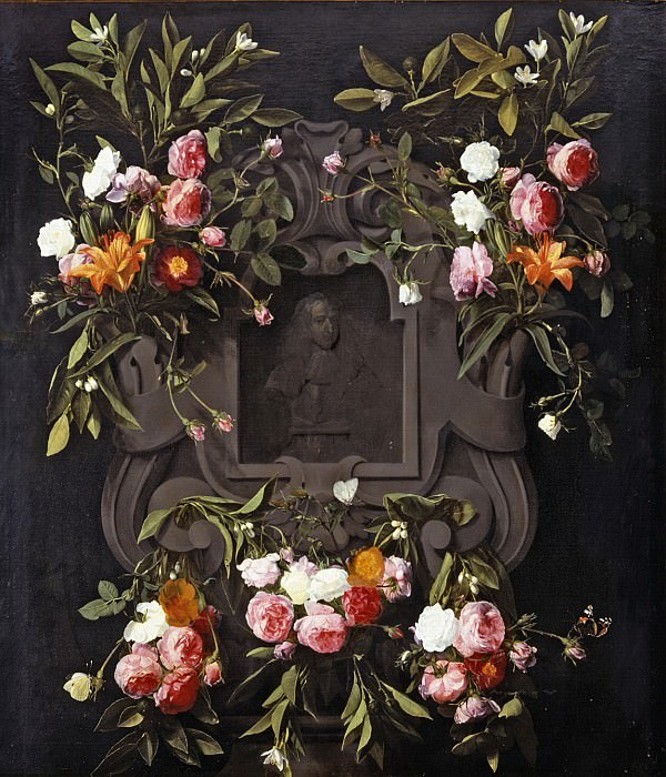 Daniel Seghers - Portrait of Stadholder-King William III (1650-1702) surrounded by a Garland of Flowers. Mauritshuis