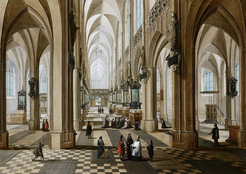 Peter Neeffs the Younger, Frans Francken III - Interior of the Onze Lieve Vrouwekerk in Antwerp. Mauritshuis
