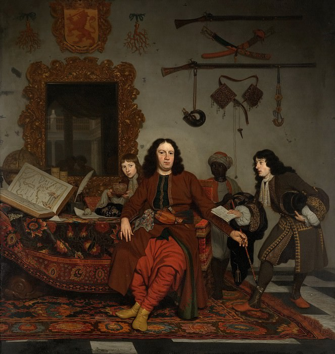 Michiel van Musscher - Portrait of Thomas Hees (1634-1692), with his Nephews Jan (b. 1662/63) and Andries (b. 1669/70) Hees, and his Servant Thomas. Mauritshuis
