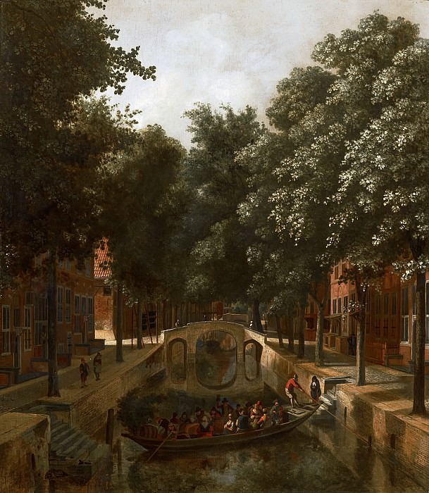 Job Adriaensz Berckheyde - View of a Dutch Canal, possibly the Oude Gracht in Haarlem. Mauritshuis