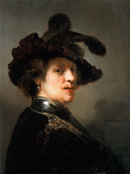 Рембрандт - Мужчина в берете, украшенном перьями. Маурицхёйс