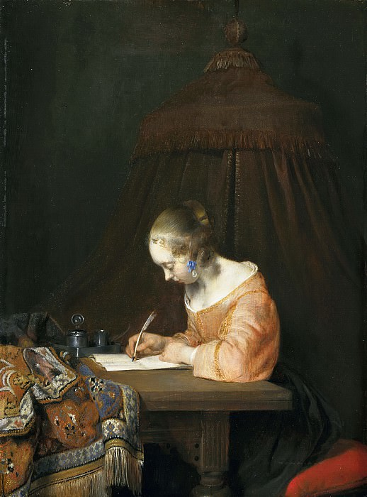 Gerard ter Borch - Woman Writing a Letter. Mauritshuis