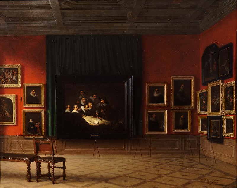 Antoon François Heijligers - Interior of the Rembrandt Room in the Mauritshuis in 1884. Mauritshuis