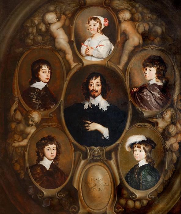 Adriaen Hanneman - Portrait of Constantijn Huygens (1596-1687) and his Five Children. Mauritshuis