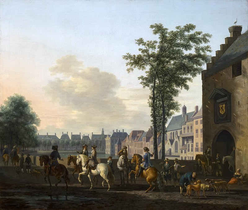 Gerrit Adriaensz Berckheyde - A Hunting Party near the Hofvijver in The Hague, seen from the Plaats. Mauritshuis