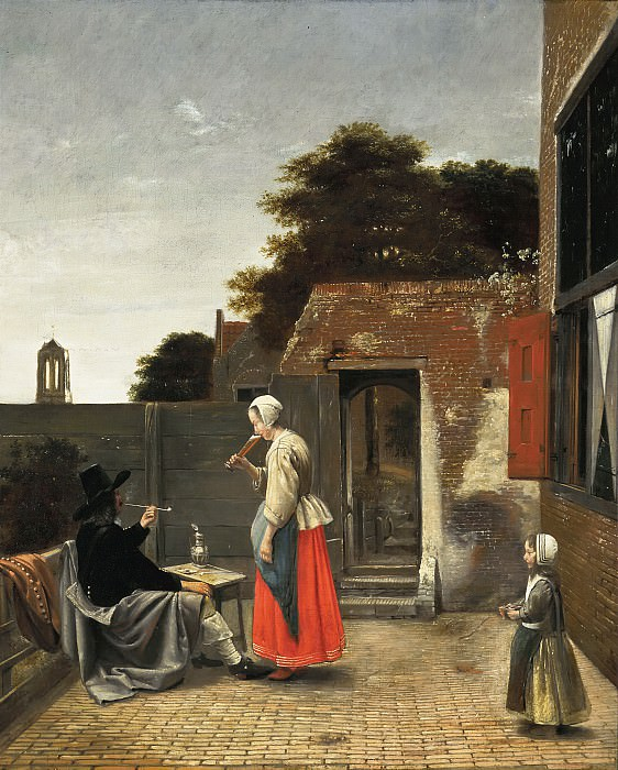 Pieter de Hooch - A Man Smoking and a Woman Drinking in a Courtyard. Mauritshuis