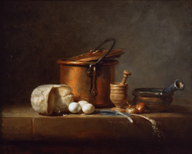 Jean-Baptiste-Siméon Chardin - Still Life with Copper Pot, Cheese and Eggs. Mauritshuis