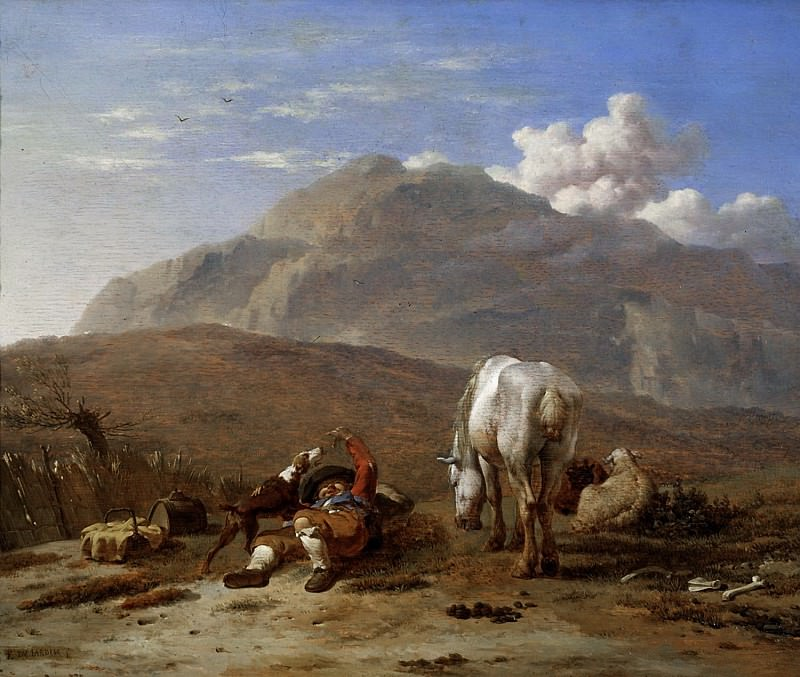Karel Dujardin - Italian Landscape with a Young Shepherd Playing with his Dog. Mauritshuis