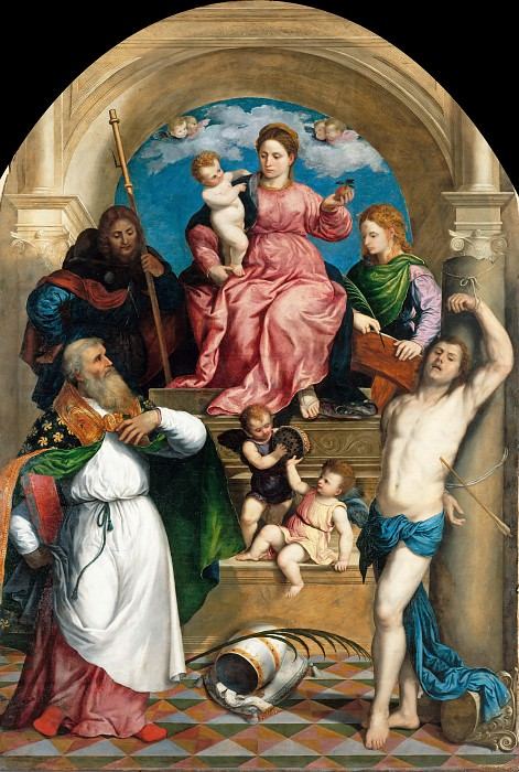 Paris Bordone (1500-1571) - Enthroned Madonna with Child and St. Fabian, Roch, Sebastian and Catherine of Alexandria. Part 4