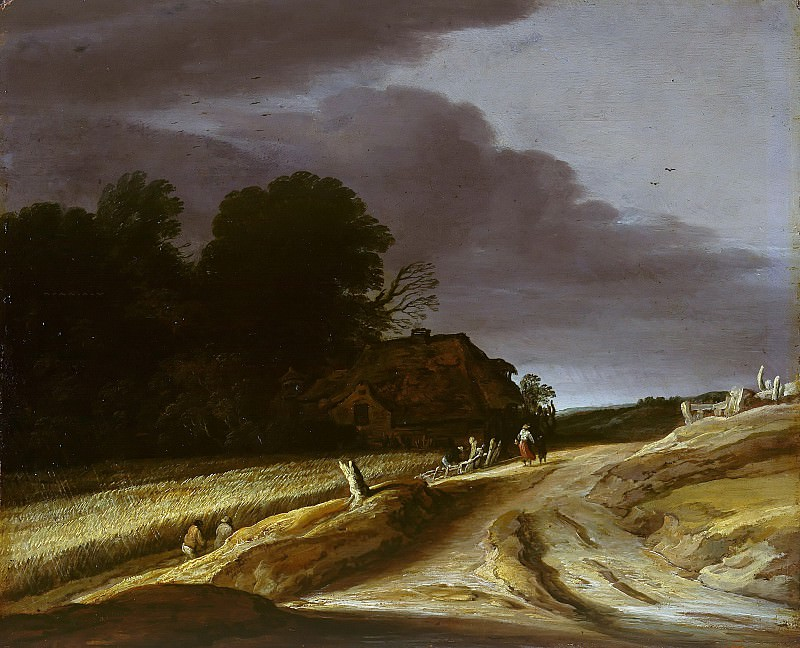 Pieter Santvoort (1605-1635) - Landscape with road and farmhouse. Part 4