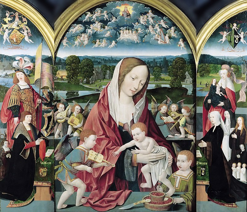 Jacob Cornelisz van Oostsanen (c.1470-1533) - Mary with Child and angels making music with prayer portraits of Sampsons-Coolen family. Part 4
