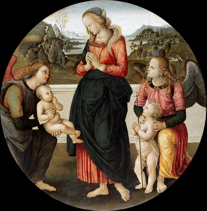 Pietro Perugino (fallower) - Mary, the child adoring, with the boy John and two angels. Part 4