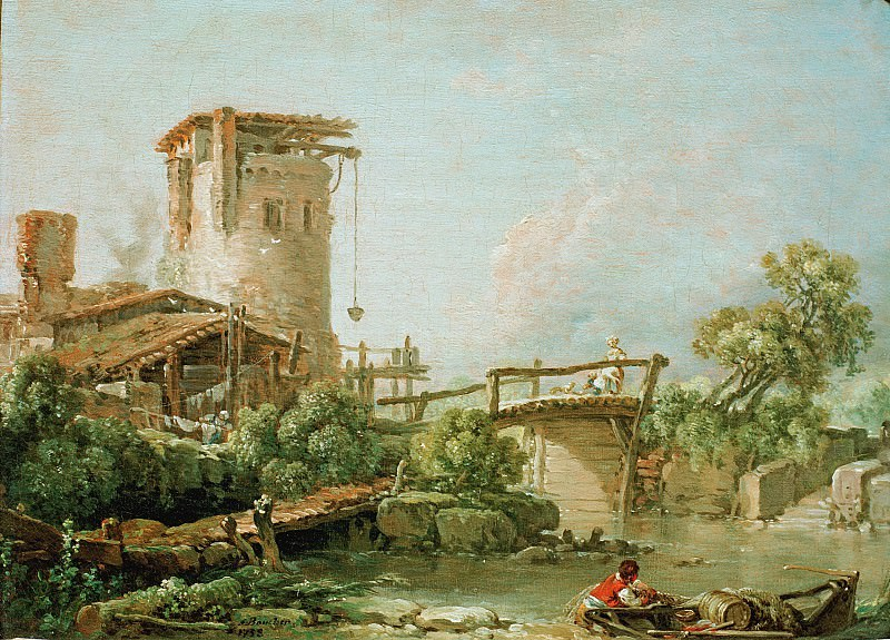 Boucher, Francois (1703–1770) - Landscape with tower and bridge. Part 4