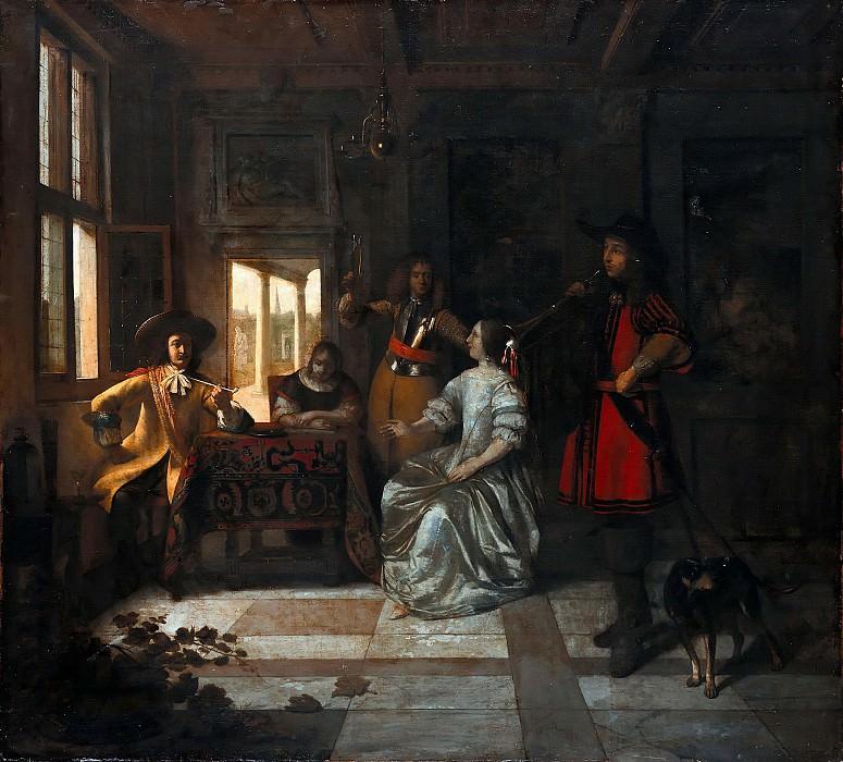 Pieter de Hooch (1629-1684) - Galante company with trumpeter. Part 4