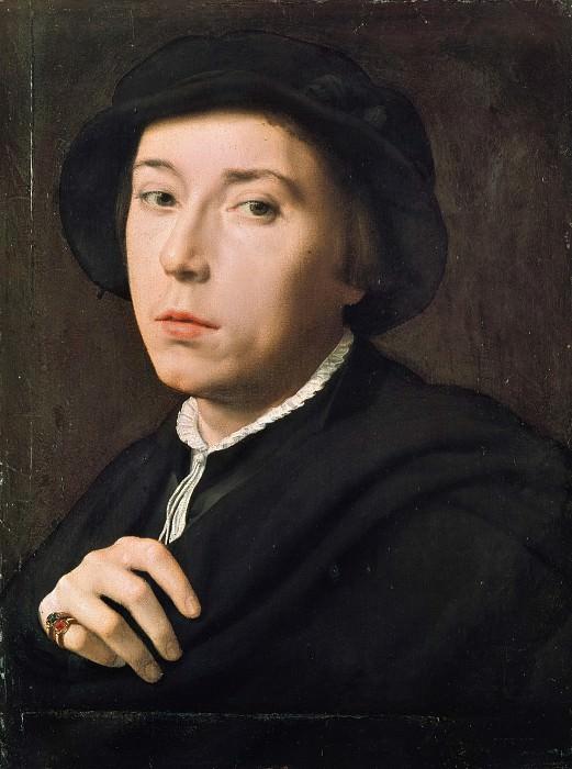 Willem Adriaensz Key (1515-16-1568) - Portrait of a young man with a black beret. Part 4