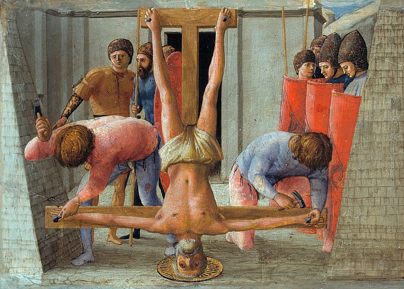 Tommaso Masaccio (1401-1428) - Predella panel from the Pisa Altar - Crucifixion of St Peter. Part 4