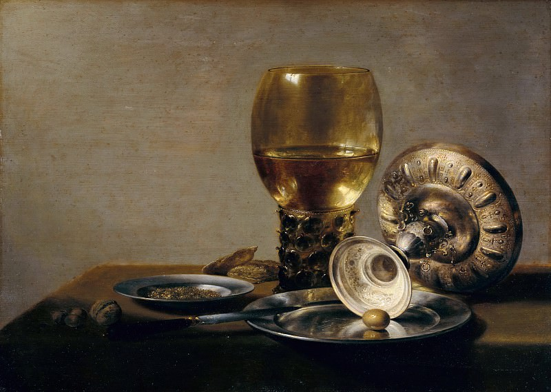 Pieter Claesz (c.1597-1661) - Still Life with glass and silver cup. Part 4
