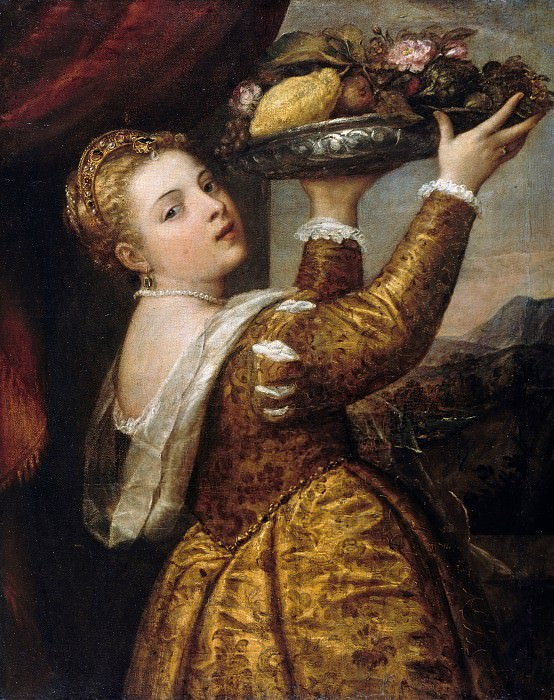 Girl with fruit bowl. Titian (Tiziano Vecellio)