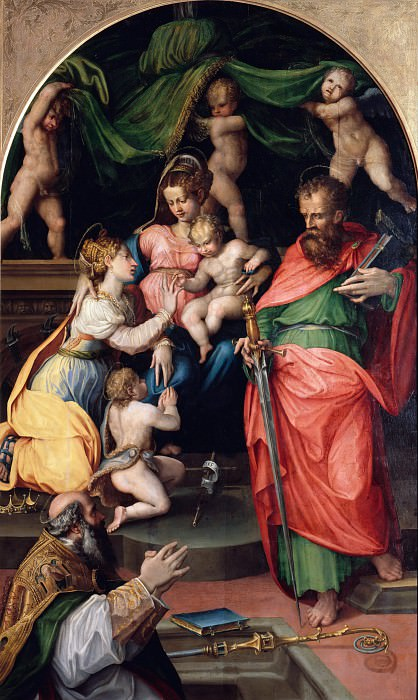 Prospero Fontana (1512-1597) - Enthroned Madonna with Child and Saints. Part 4