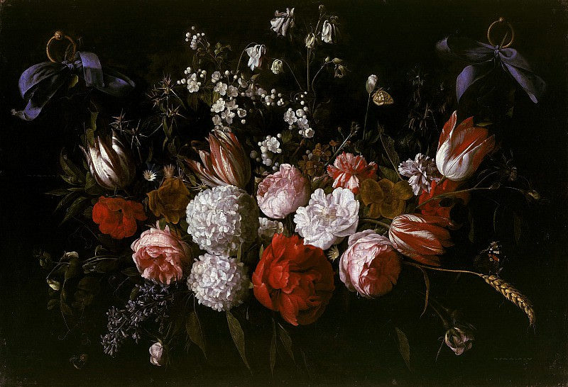Nicolaes van Veerendael (1640-1691) - Garlands of blue ribbons. Part 4