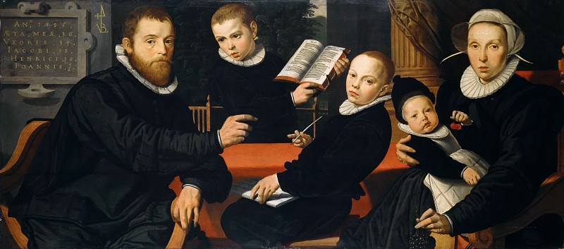 Pieter Pietersz (1540-1603) - Portrait of the Amsterdam publisher Laurens Jacobszoon with his wife and three sons. Part 4