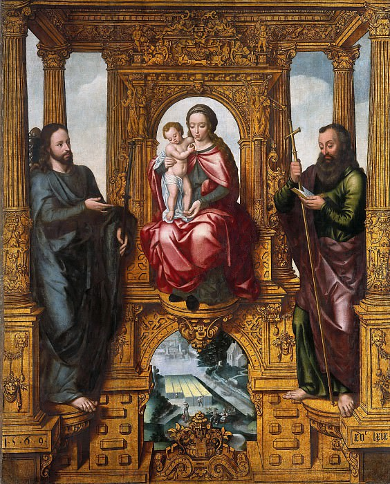 Pieter Claeissins I (1499-1576) - The enthroned Virgin and Child and Saint James the Younger and James the Elder. Part 4