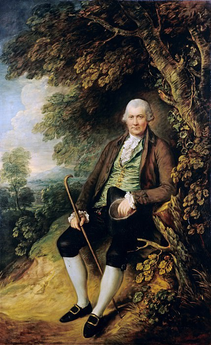 Thomas Gainsborough (1727-1788) - Portrait of Mr. John Wilkinson in the park under a tree sitting. Part 4