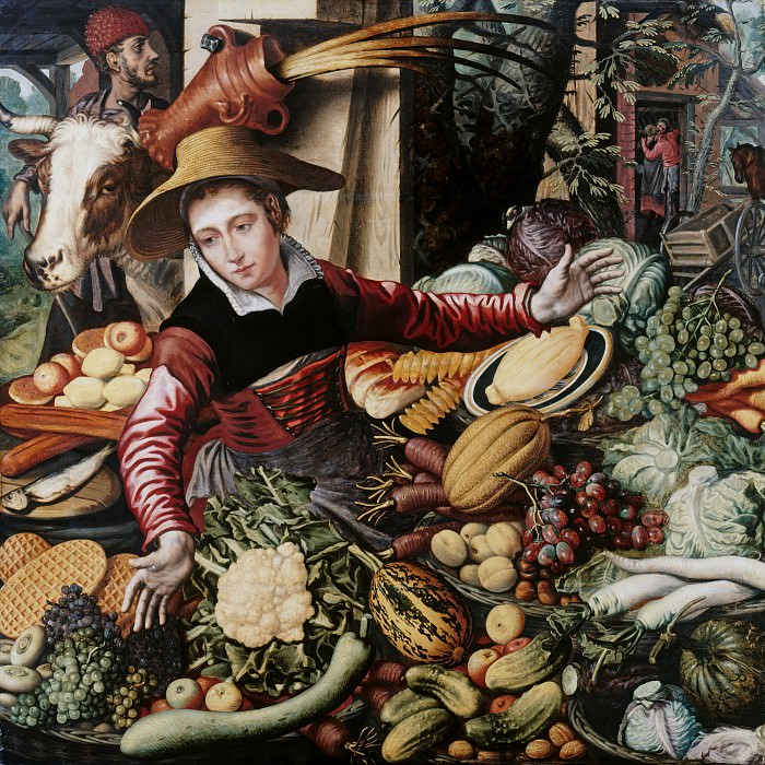 Pieter Aertsen (1508-1575) - Market woman at the vegetable stand. Part 4