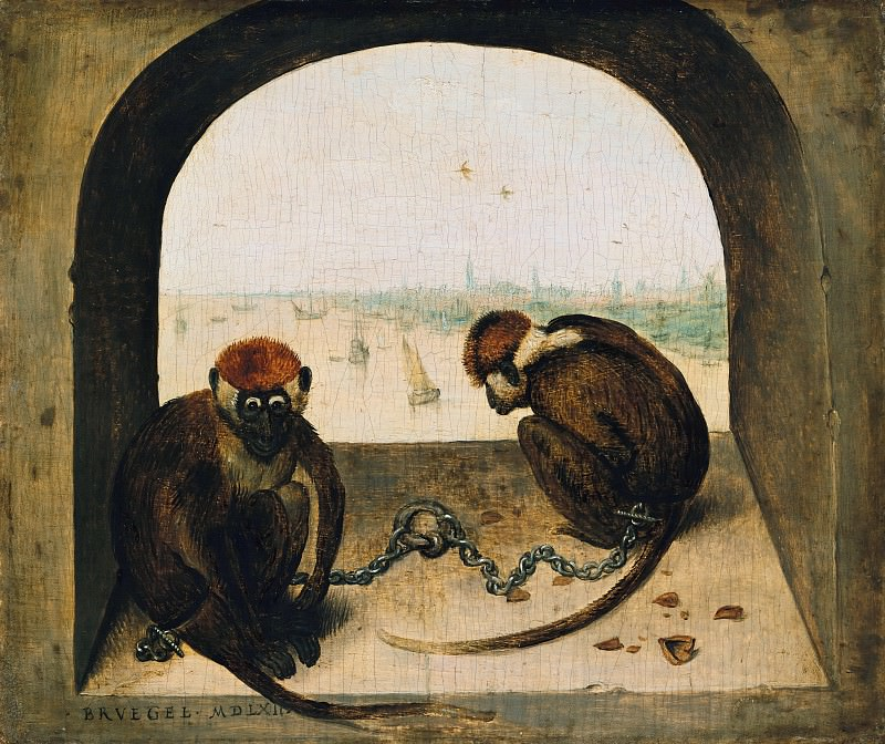 Two Chained Monkeys. Pieter Brueghel The Elder