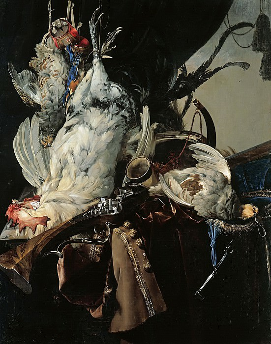 Willem van Aelst (1626-1683) - Still Life with Birds and Hunting Equipment. Part 4