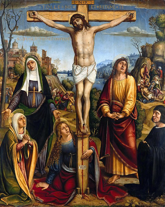 Pier Francesco Sacchi (1485-1528) - Christ on the Cross, mourned by the three Marys, st. John and a donor. Part 4