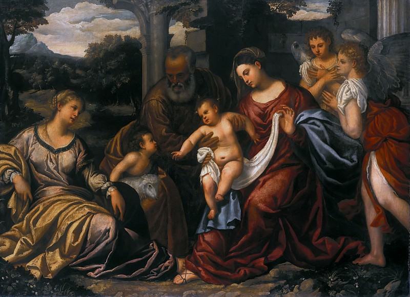 Polidoro da Lanciano (c.1515-1565) - The Holy Family with St. Catherine of Alexandria and John the Baptist. Part 4