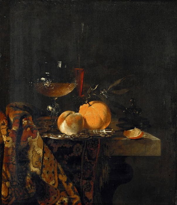 Willem Kalf (1619-1693) - Still life with glass cup and fruits. Part 4
