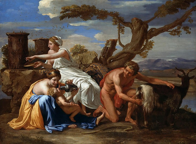 Jupiter nourished as a child The Goat Amalthea. Nicolas Poussin