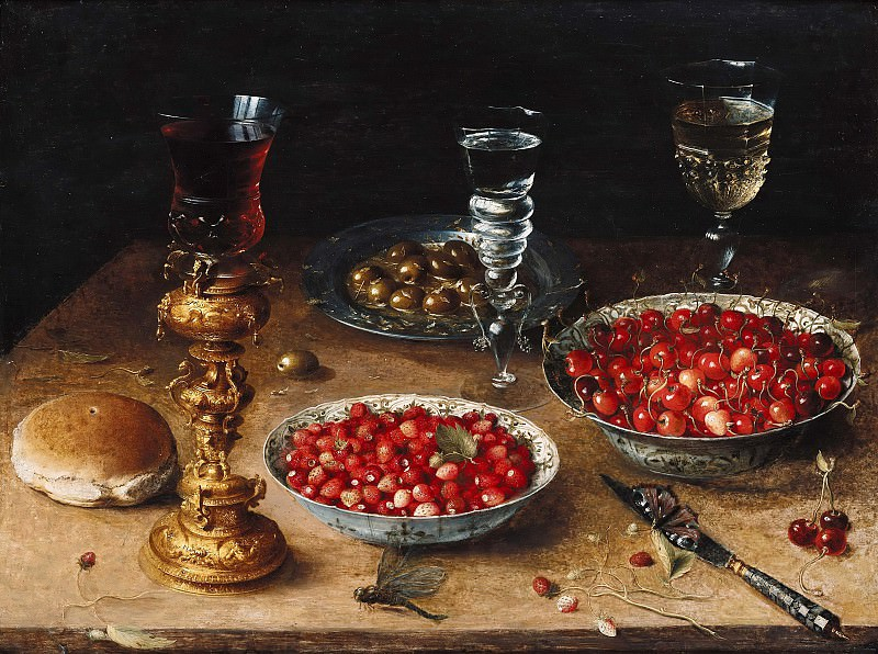Osias Beert (c.1580-1623) - Still Life with Cherries and Strawberries in Chinese porcelain bowls. Part 4